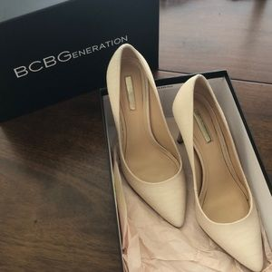 BCBGeneration Pink Croc Stamped Pointed Toe Pumps